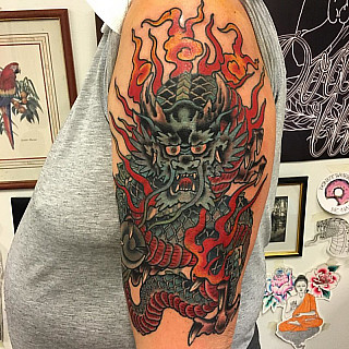 Finished cover up. By Victor. Kiitos. #tattoo #dowundertattoo #lappeenranta #coverup #dragon #japanese