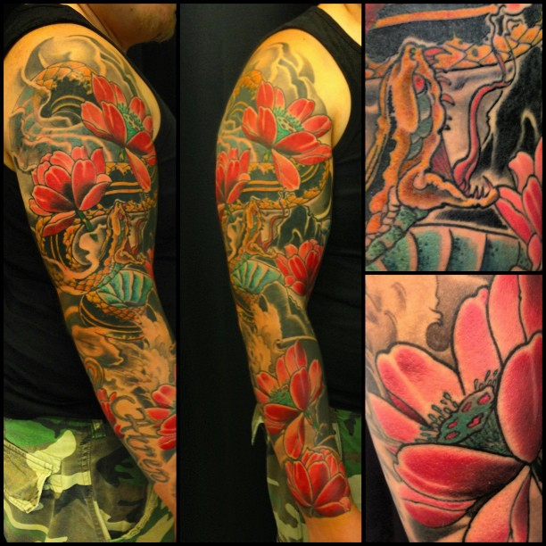 Colors today. Need one more session for this one. Lower arm got some cover up....