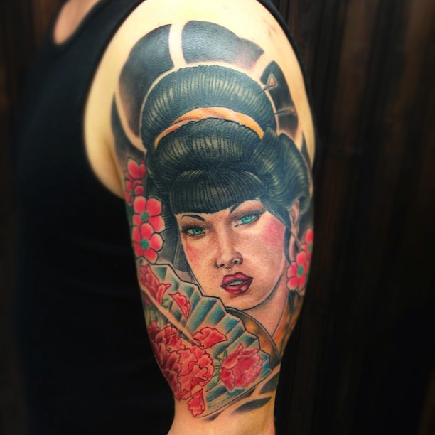 Finish this one yesterday, colors an some backround. Was really fun! Thx Verneri!!! #japanese #tattoo #geisha