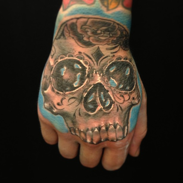 Freehand mexican skull today...