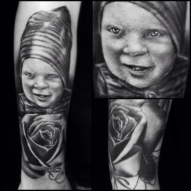 Todays tat... #portrait #tattoo #son #b&g #rose