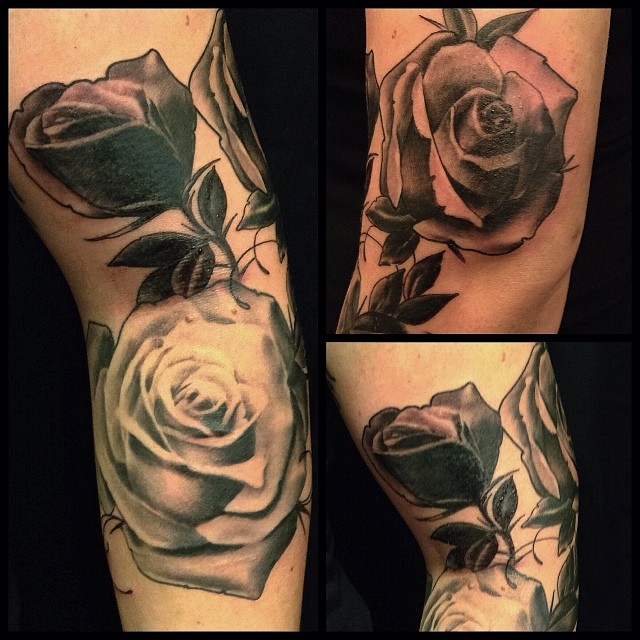 1st one today, freehand roses. Going back for details next time.