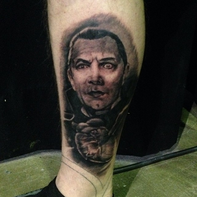 Did this one at Helsinki Ink 2014. In progress, need some smooth shades, white highlights! Thanks Joel #helsinkiink #black&gray #dracula #marked.fi #downundertattoo