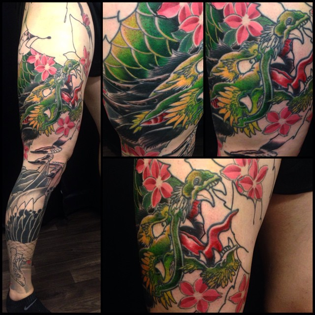 Little this one today! Good times! #downundertattoo #izerumi #japanese #dragon #legsleeve