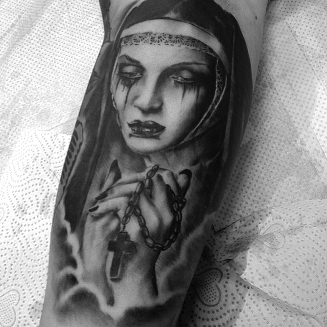 Nun today... #tattoo #downundertattoo #marked #nun #sad #lappeenranta