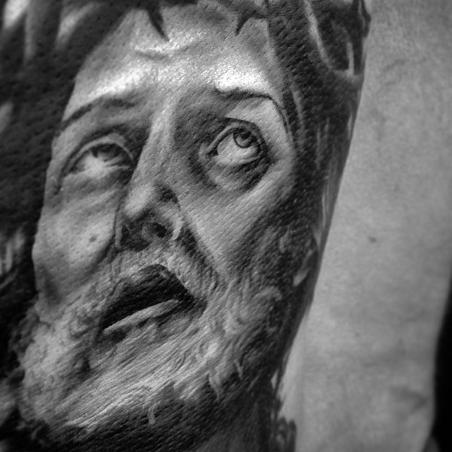 Started little Jesse thing today! In progress. #downundertattoo #jeesus #religion #tattoo #blackandgray #marked