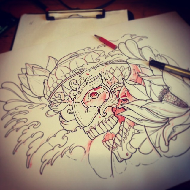 Wörk! Today we star to tattoo this one.... #downundertattoo #japanese #izerumi #sketch