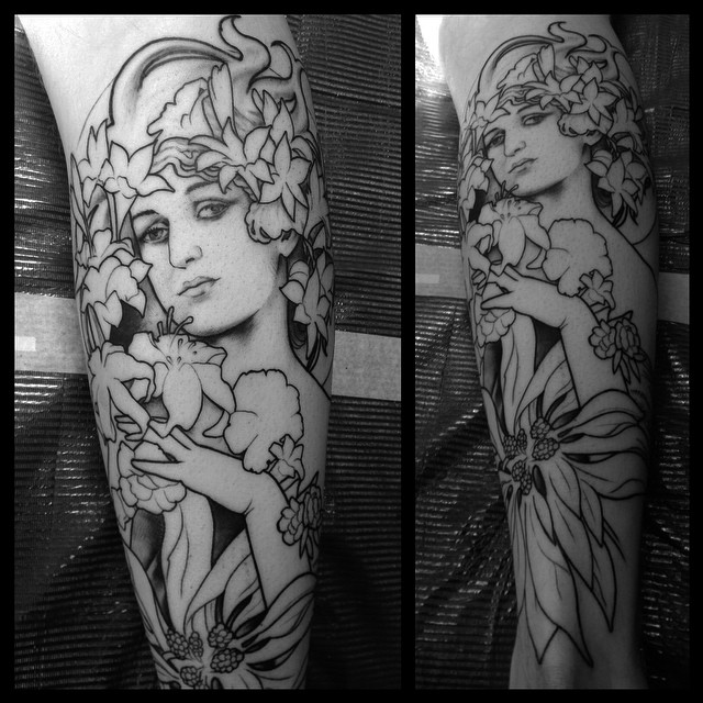 Start this Mucha leg sleeve today.
