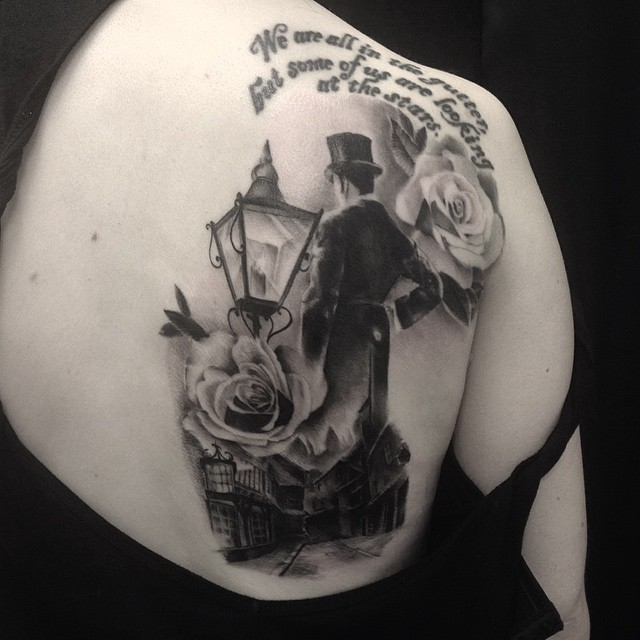 Text is not my work. Victorian time gentleman and street view. Was fun. #downundertattoo #marked #lappeenranta #blackandgray #instaart