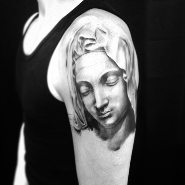 Vaihees - in progress. Always love to do catholic shit! #downundertattoo #tattoo #tatuointi #marked #lappeenranta #blackandgray #catholic #madonna