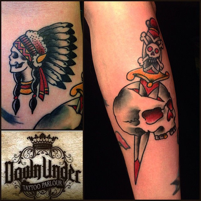 Thanks mr Kiuru! Was fun! Inspired by mr Collins. #oldschool #sailorjerry #tattoo #tatuointi #nativeamerican #dagger #skull #lappeenranta #walkintattoos #downundertattoo