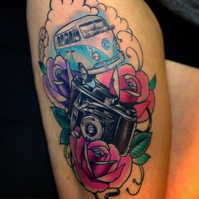 This one yesterday, all colors fresh. Sorry about pic again  #downundertattoo #lappeenranta #tatuointi #camera #marked #kleinbus #newtraditional #color