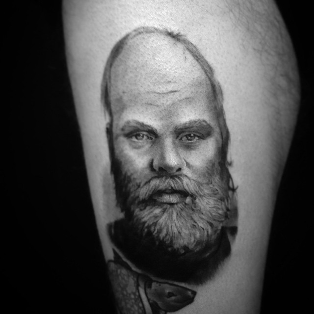 Portrait pf grandfather today! Thanks mr. Vitikka #downundertattoo #muotokuva #portrait #blackandgray #lappeenranta #lpr #tatuointi
