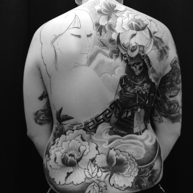 Samurai morning! #downundertattoo #marked #lappeenranta #lpr #tatuointi #tattooedfinland #markus #blackandgray #backpiece