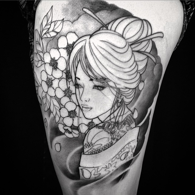 Start this little geisha tattoo today. #downundertattoo #japanese #getmarked #geishatattoo #lappeenranta #lpr #markus