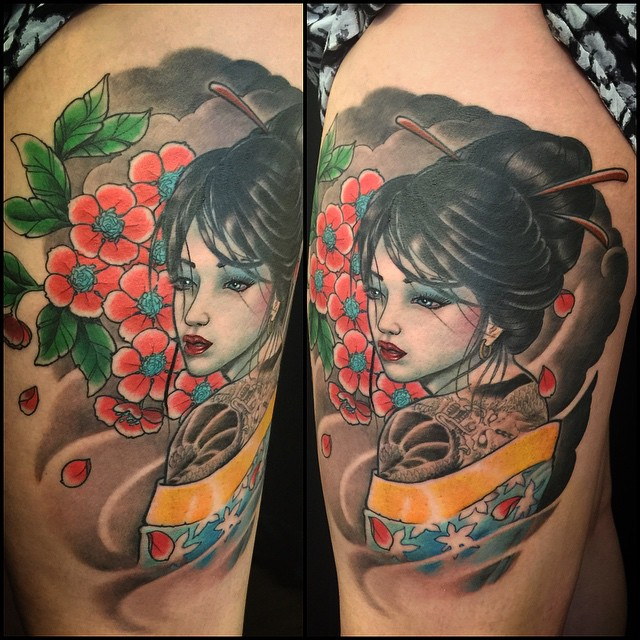 Geisha girl today. Some part fresh some healed. Better pic later I hope! #markuskoskela #japanesetattoo #sakura #downundertattoo #lappeenranta #tatuointi