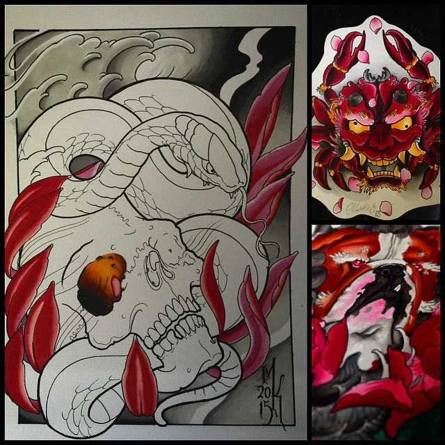 Star learning markers today. Skull snake shit is started today. I try to finish it tomorrow if I just got time. 2 others are old water color paintings. I call mr. @marcospugna would like to see something from u my friend ️ #3paintings5days #3paintingsfor5days #markuskoskela #downundertattoo #lappeenranta #tatuointi